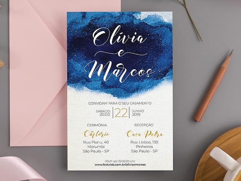 Crie seu convite de casamento - Azul Pincelado| Joliz
