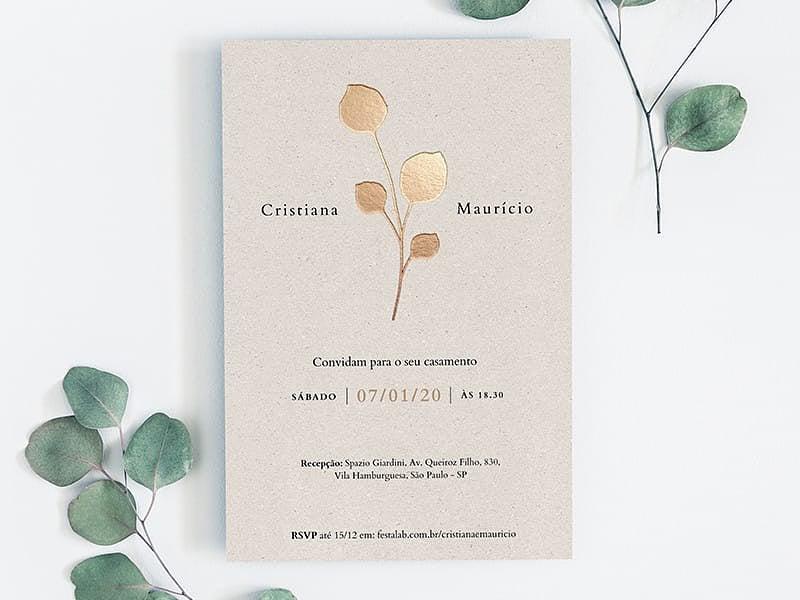 Crie seu convite de casamento - Folhas Douradas| Joliz