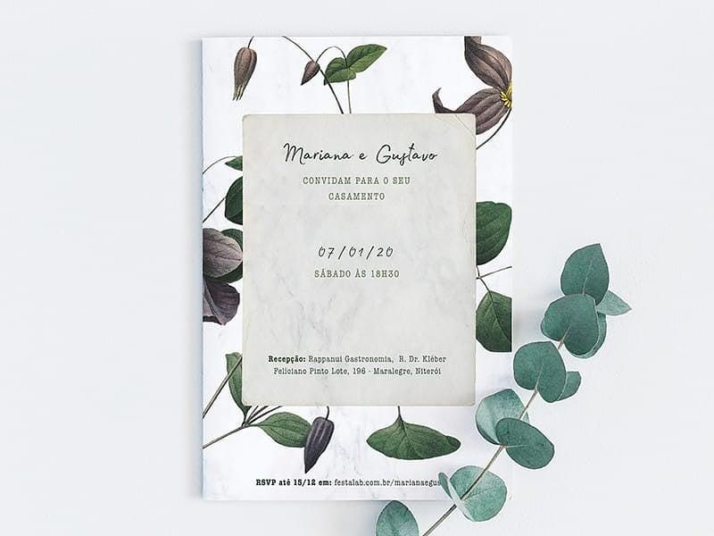 Crie seu convite de casamento - Floral Silvestre  Joliz