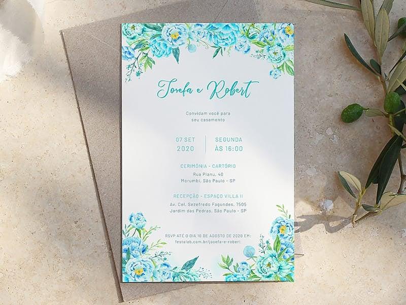 Crie seu convite de casamento - Primavera Azul| Joliz