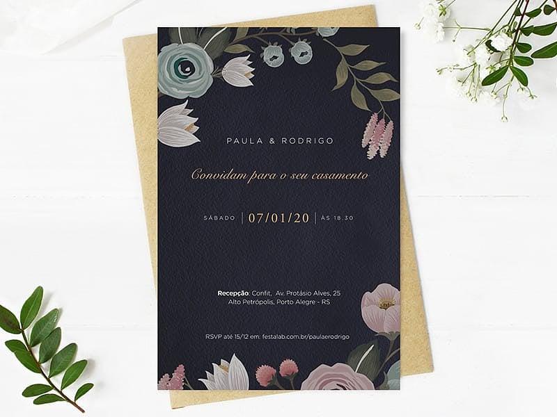 Crie seu convite de casamento - Floral Escuro  Joliz