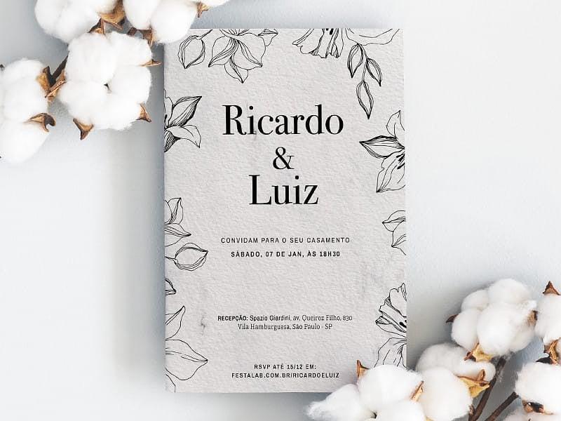 Crie seu convite de casamento - Folhas Rústico| Joliz