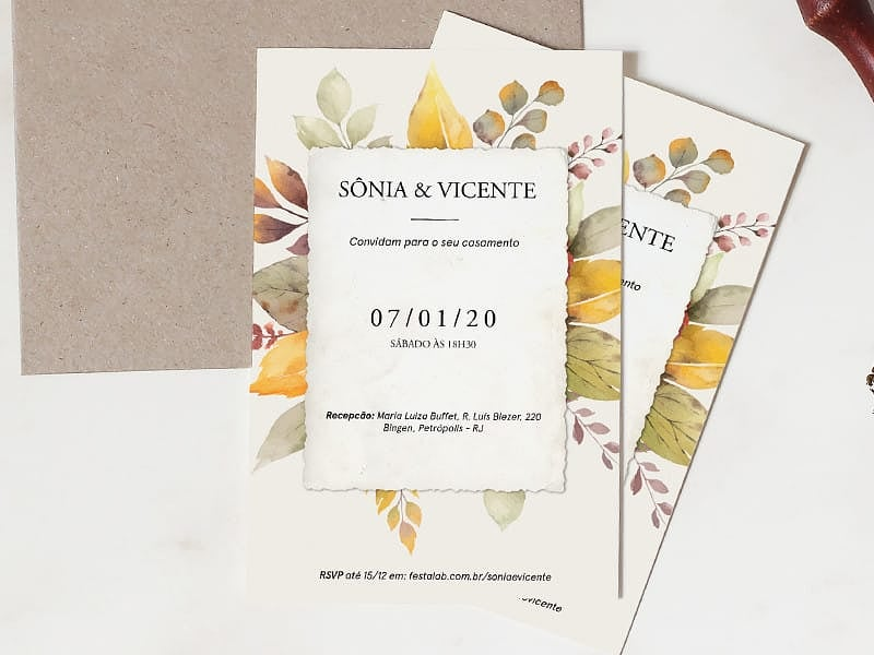 Crie seu convite de casamento - Outono Rústico| Joliz