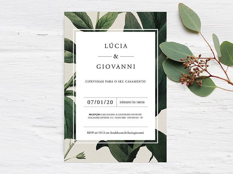 Crie seu convite de casamento - Folhagem| Joliz