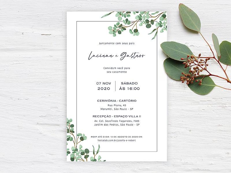 Crie seu convite de casamento - Folhagem Sofisticado| Joliz