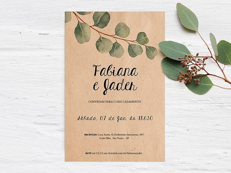 Crie seu convite de casamento - Visco Envelhecido  Joliz