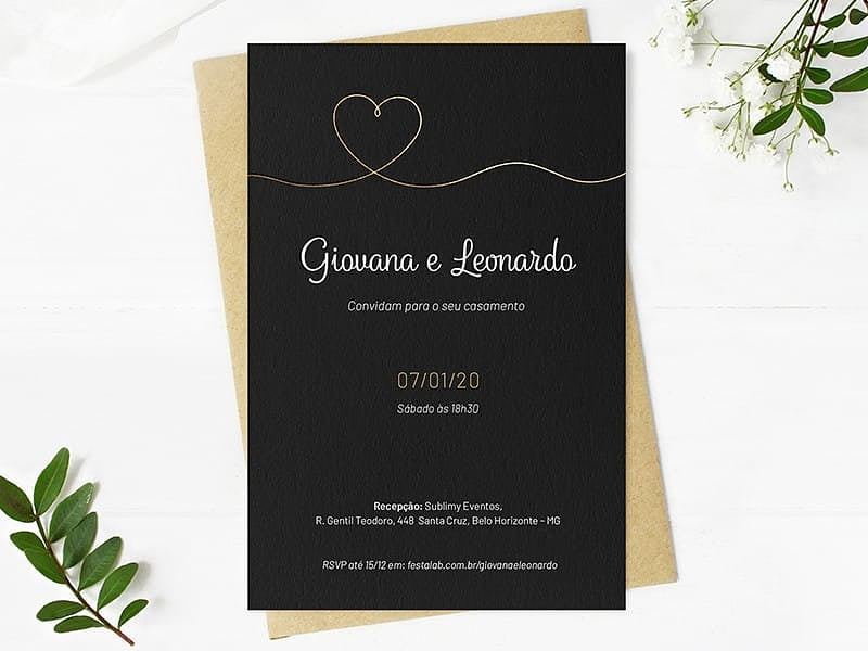 Crie seu convite de casamento - Coração Minimalista| Joliz