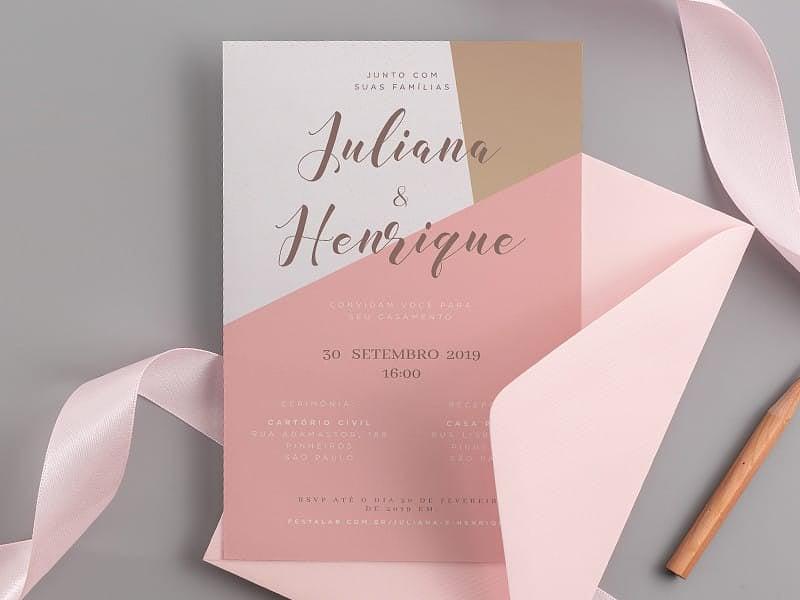 Crie seu convite de casamento - Rosa Abstrato| Joliz