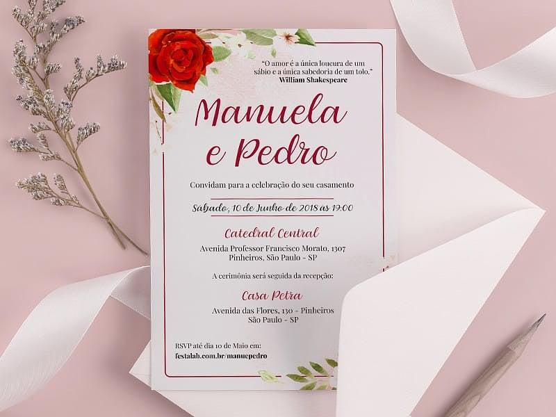 Crie seu convite de casamento - Romântico Delicado  Joliz