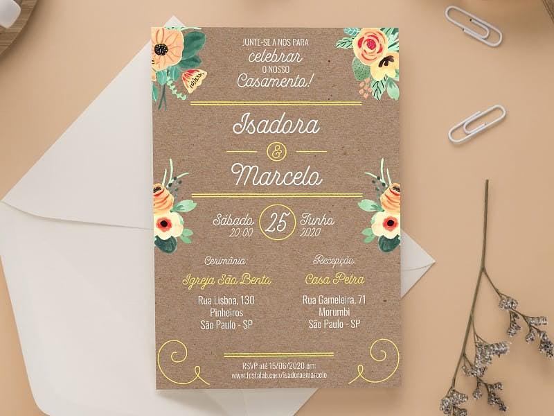 Crie seu convite de casamento - Rústico Tropical| Joliz
