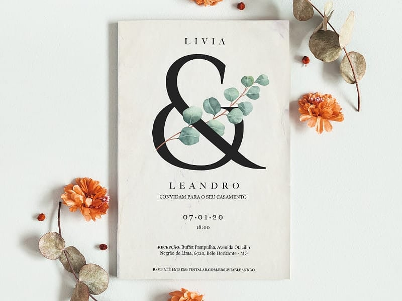 Crie seu convite de casamento - Rústico Textura  Joliz