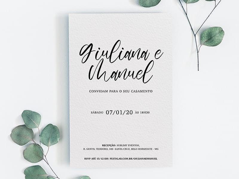 Crie seu convite de casamento - Simples Sofisticado  Joliz