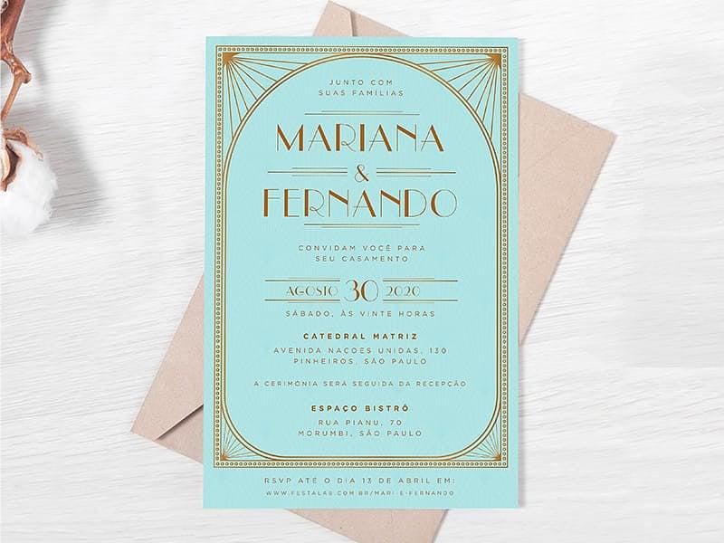 Convite de Casamento - Vintage tiffany